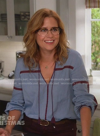 Lena's embroidered chambray blouse on Splitting Up Together