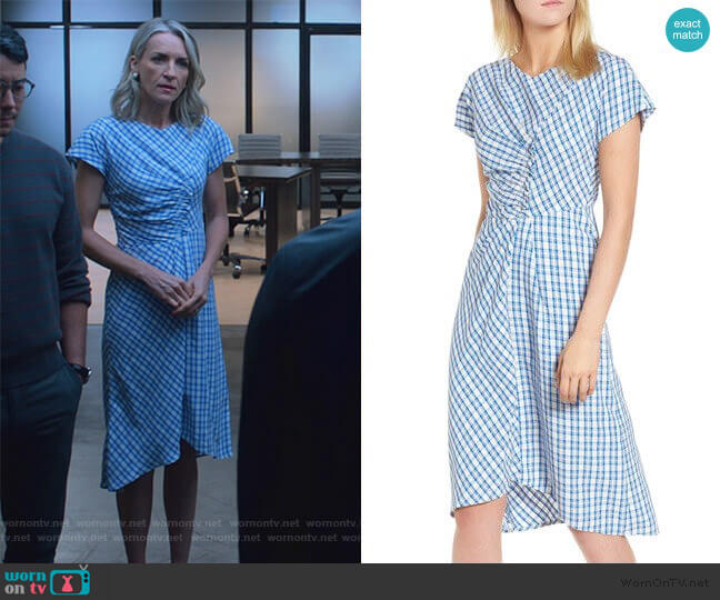 Ruched Check Midi Dress by Lewit worn by Janet Stein (Ever Carradine) on Marvels Runaways