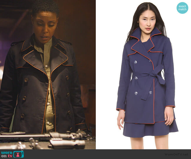 Piped Trench Coat by Lisa Perry worn by Lynn Stewart (Christine Adams) on Black Lightning
