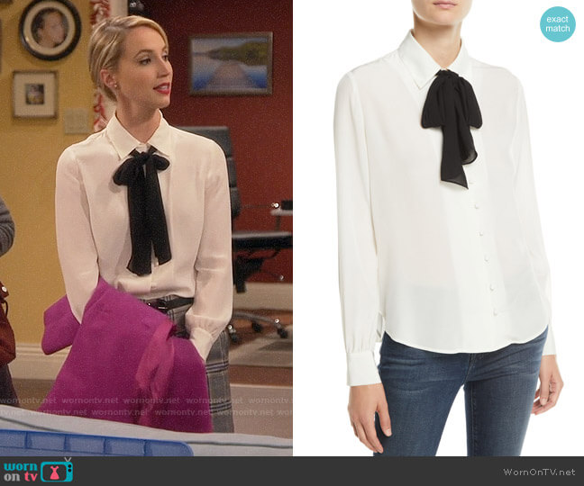 Frame Tie Neck Silk Blouse worn by Mandy Baxter (Molly McCook) on Last Man Standing