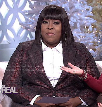 Loni's metallic leopard suit on The Real