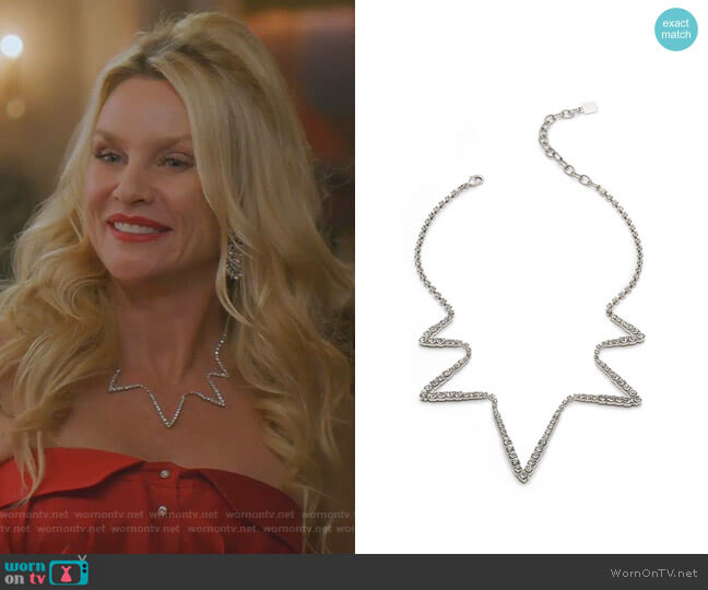Lotus Crystal Necklace by Dannijo worn by Alexis Carrington (Elaine Hendrix) on Dynasty