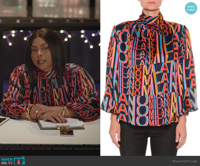 Printed High-Neck Blouse with Removable Shoulder Pads by MSGM worn by Cookie Lyon (Taraji P. Henson) on Empire