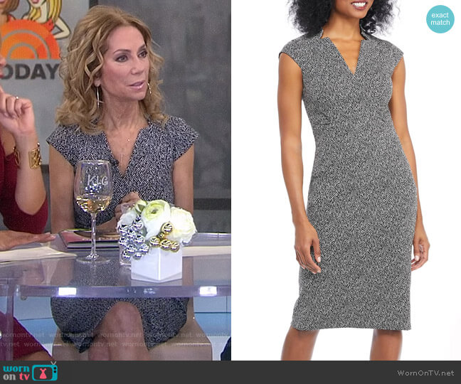 Herringbone Notch Cut Sheath Dress by Maggy London worn by Kathie Lee Gifford  on Today