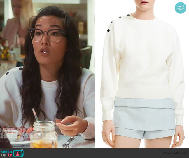 Marlina Cropped Shoulder-Snap Sweater by Maje worn by Doris (Ali Wong) on American Housewife