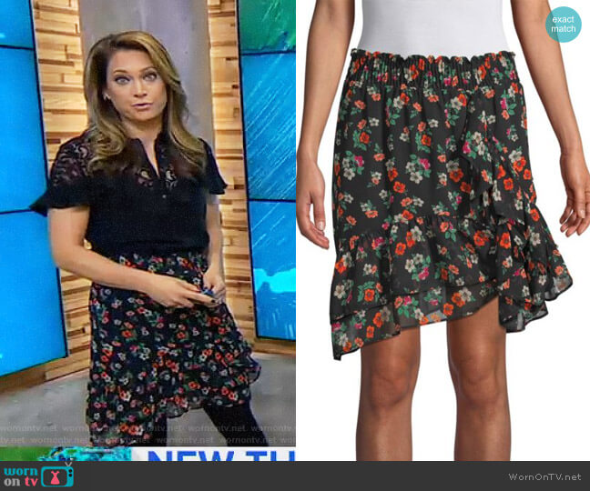 Multicolored Floral Skirt by Maje worn by Ginger Zee  on Good Morning America