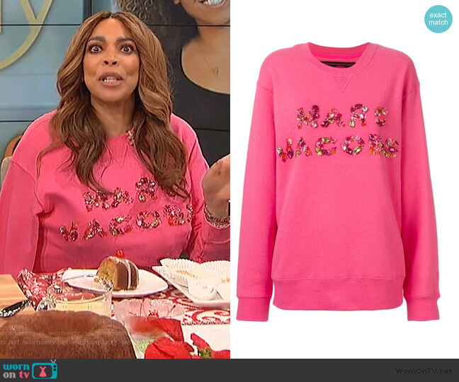 Bead Embroidered Logo Sweatshirt by Marc Jacobs worn by Wendy Williams  on The Wendy Williams Show