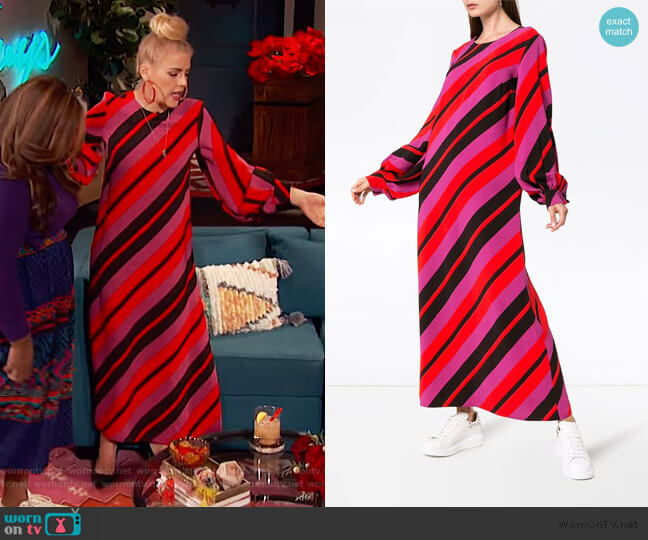 Stripe Print Long Sleeve Mid-length Dress by Marni worn by Busy Philipps  on Busy Tonight