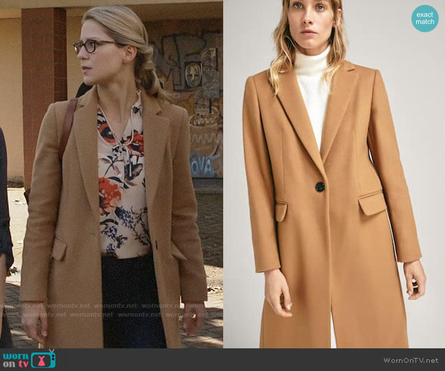 Massimo Dutti Solid Colored Wool Coat worn by Kara Danvers (Melissa Benoist) on Supergirl