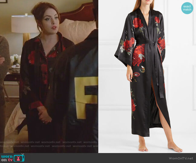 Printed Silk-Satin Robe by Meng worn by Fallon Carrington (Elizabeth Gillies) on Dynasty