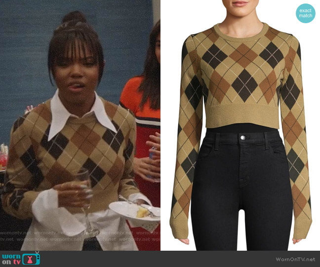 Cropped Cashmere Argyle Pullover Sweater by Michael Kors worn by Ryan Destiny on Star