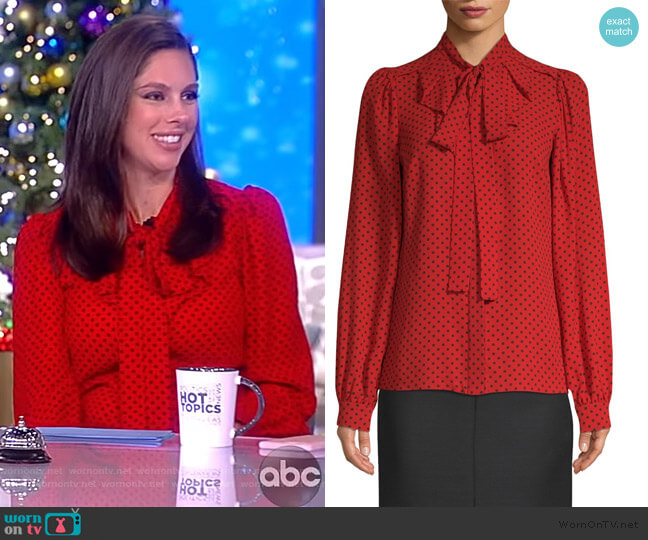 Silk Polka Dot Blouse by Michael Kors worn by Abby Huntsman  on The View
