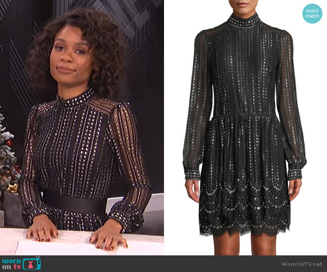 Beaded Lace A-Line Dress by Michael Kors worn by Zuri Hall (Zuri Hall) on E! News