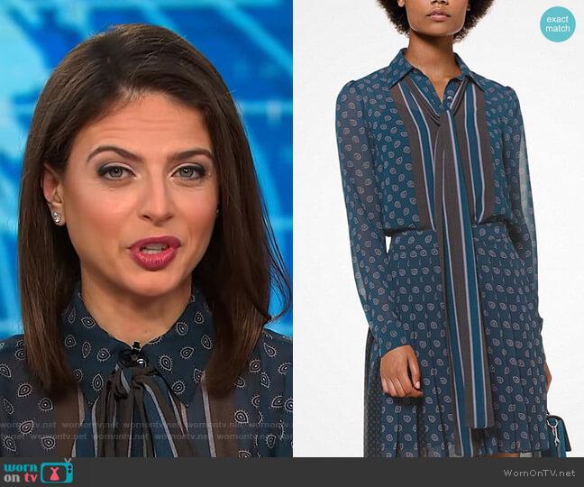 Foulard-Print Tie-Neck Blouse by Michael Michael Kors worn by Bianna Golodryga on CBS This Morning
