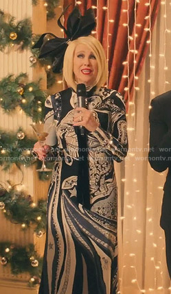 Moira's astrology print long dress on Schitt's Creek