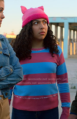 Molly's pink and blue striped sweatshirt on Marvel's Runaways