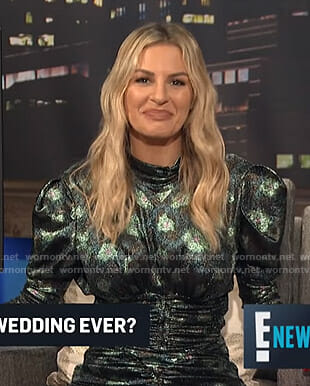 Morgan's metallic floral top and skirt on E! News Nightly Pop