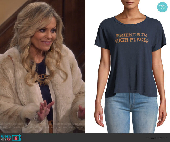 The Sinful Graphic Crewneck Tee by Mother worn by DJ Tanner-Fuller (Candace Cameron Bure) on Fuller House