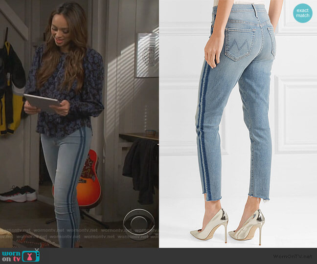 The Stunner jeans by Mother worn by Amber Stevens West on Happy Together