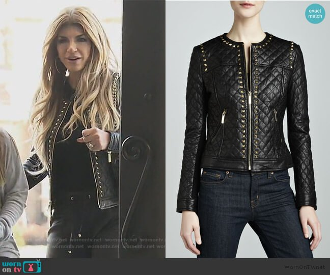 Golden Studded Quilted Leather Jacket by Neiman Marcus worn by Teresa Giudice  on The Real Housewives of New Jersey
