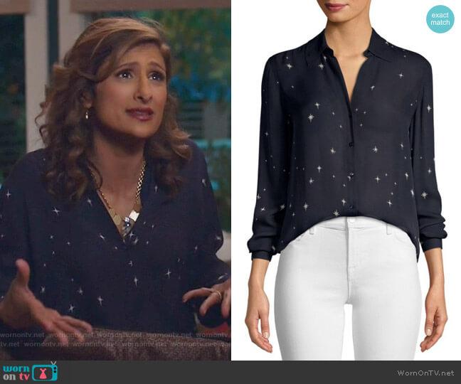 Nina Blouse by L'Agence worn by Emet Kamala-Sweetzer (Sarayu Blue) on I Feel Bad