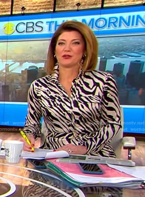 Norah's zebra print shirtdress on CBS This Morning