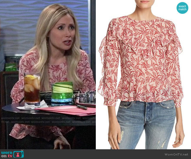 Olivaceous Floral Ruffle Blouse worn by Lulu Spencer Falconeri (Emme Rylan) on General Hospital