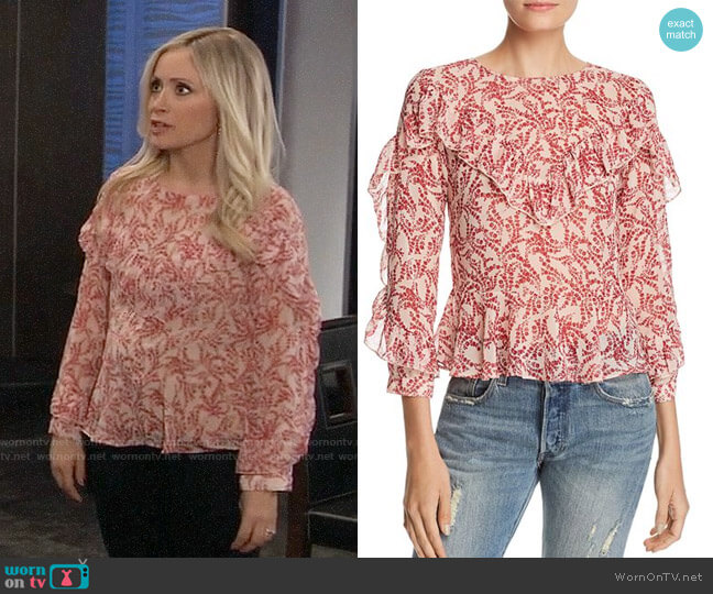 Olivaceous Floral Ruffle Blouse worn by Emme Rylan on General Hospital
