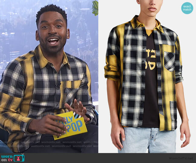 Appliquéd Patchwork Plaid Flannel Shirt by Ovadia & Sons worn by Justin Sylvester  on E! News