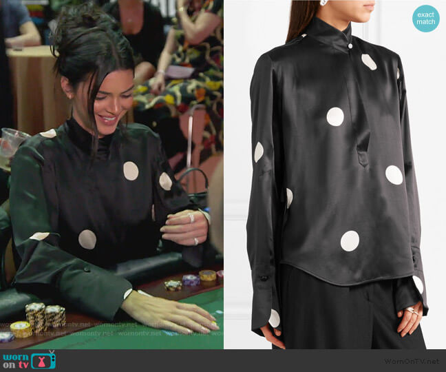 Eva Polka-dot Silk Satin Blouse by Petar Petrov worn by Kendall Jenner on Keeping Up with the Kardashians