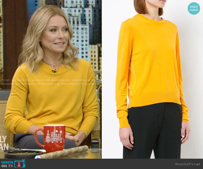 Merino Crewneck Sweater by Proenza Schouler worn by Kelly Ripa  on Live with Kelly & Ryan