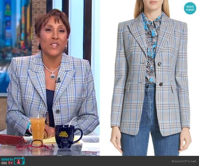 Plaid Pressed Wool Blazer by Michael Kors worn by Robin Roberts  on Good Morning America