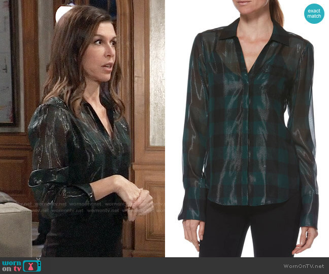 Paige Bevyn Top worn by Anna Devane (Finola Hughes) on General Hospital