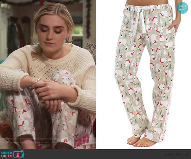 Christmas Bear Print Pants by Pajama Mania worn by Taylor Otto (Meg Donnelly) on American Housewife