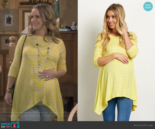 Striped Asymmetric 3/4 Sleeve Maternity Top by Pink Blush worn by Kimmy Gibbler (Andrea Barber) on Fuller House
