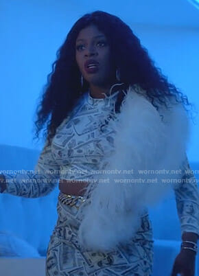 Porsha's money print crop top on Empire