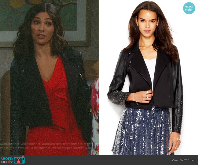Studded Faux-Leather Moto Jacket by RACHEL Rachel Roy worn by Gabi Hernandez (Camila Banus) on Days of our Lives