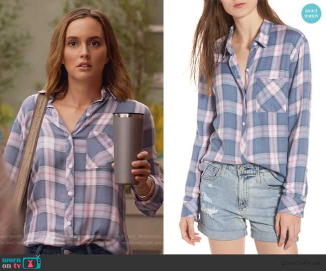 Hunter Plaid Pocket Shirt in Indigo Berry by Rails worn by Angie (Leighton Meester) on Single Parents