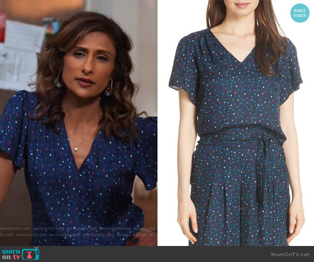 Speckled Silk Blouse by Rebecca Taylor worn by Emet Kamala-Sweetzer (Sarayu Blue) on I Feel Bad