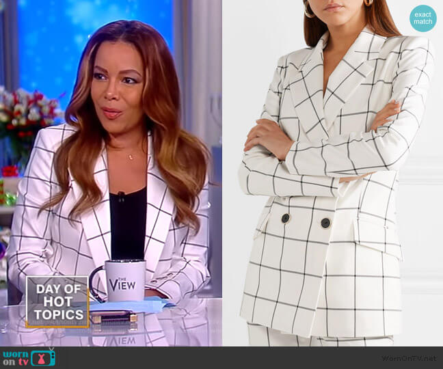 Pierre double-breasted checked twill blazer by Rebecca Vallance worn by Sunny Hostin  on The View