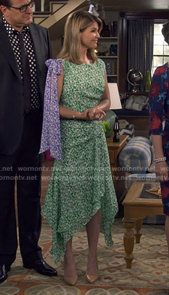 Rebecca's green floral asymmetric dress on Fuller Hosue