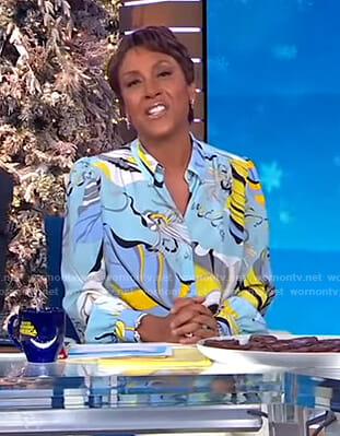 Robin's blue printed blouse on Good Morning America