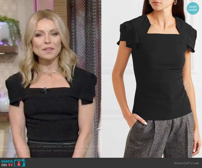 Darfield Crepe Top by Roland Mouret worn by Kelly Ripa  on Live with Kelly & Ryan