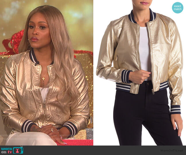 Metallic Faux Leather Bomber Jacket worn by Eve (Eve) on The Talk