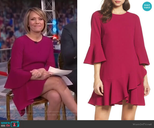 Ruffled Bell-Sleeve A-Line Dress by Eliza J worn by Dylan Dreyer (Dylan Dreyer) on Today