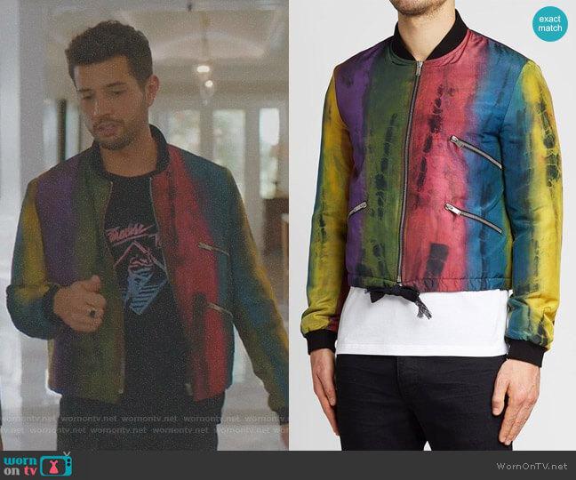 Silk Bomber Jacket by Saint Laurent worn by Sam Flores (Rafael de la Fuente) on Dynasty