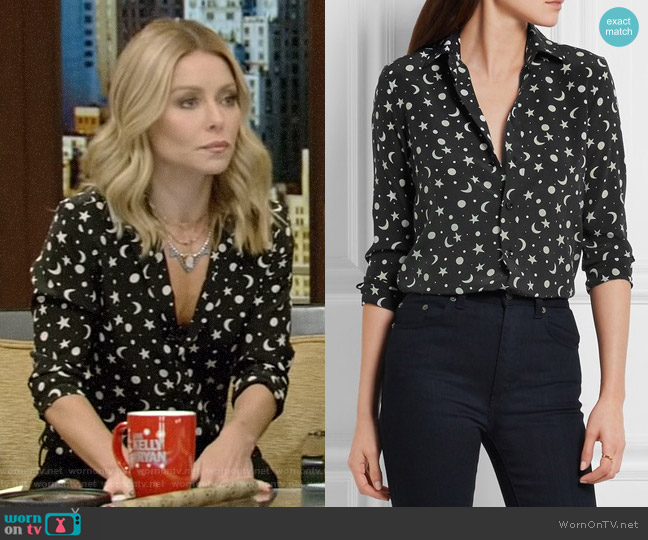 Print Silk Crepe De Chine Shirt by Saint Laurent worn by Kelly Ripa (Kelly Ripa) on Live with Kelly & Ryan