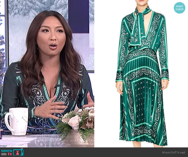 Cactus Bandana Print Pleated Midi Dress by Sandro worn by Jeannie Mai  on The Real