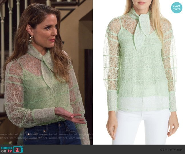Tie Neck Lace Blouse by Sandro worn by CJ Harbenberger (Virginia Williams) on Fuller House