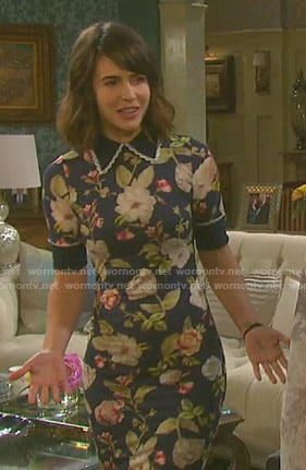 Sarah's blue floral collared dress on Days of our Lives